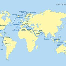 itinéraire tour du monde Sea Princess 2020