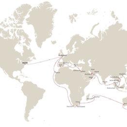 itinéraire du tour du monde à bord du bateau Cunard Queen mary 2 2021
