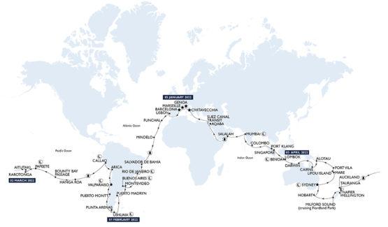 carte des destinations du tour du monde en croisière avec MSC en 2022