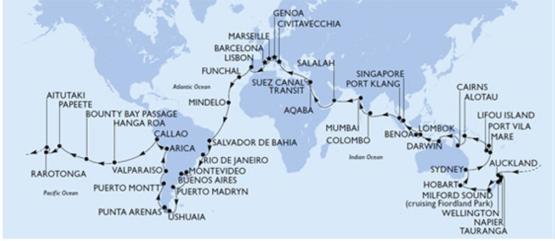itinéraire de la croisière tour du monde MSC 2022