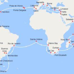 itinéraire du tour du monde Costa 2022