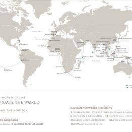Carte de l'itinéraire de la croisière tour du monde Regent 2023