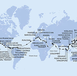 itinéraire du tour du monde MSC 2023