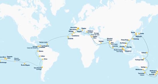 Itinéraire du tour du monde de Costa Croisières 2023