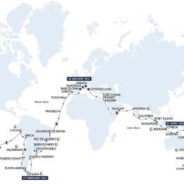 itinéraire de la croisière tour du monde MSC 2023 à bord du MSC Magnifica